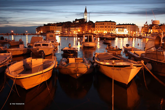 Rovinj, Croatia, Europe, Mediterranean Sea, lights, harbour, ferry boats, night photography, sunset, blue hour Rovinj