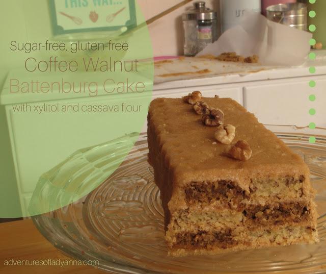 Sugar-free, gluten-free Coffee Walnut Battenburg Cake with xylitol and cassava flour