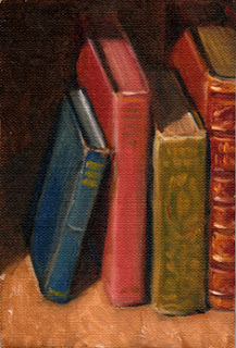 Oil painting of a small collection of antique books.