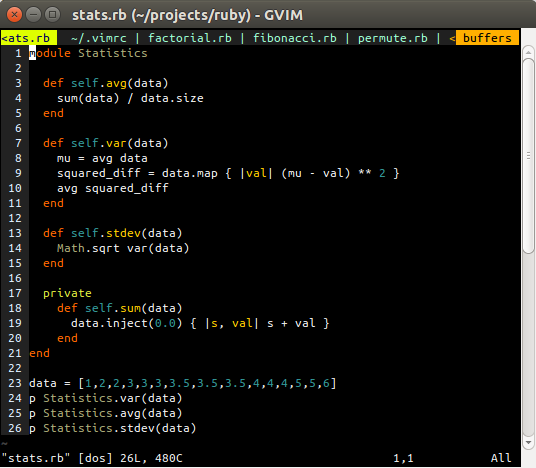 Gvim example screenshot