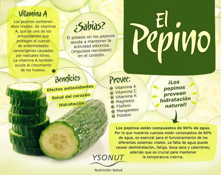 Que nutrientes contiene el pepino
