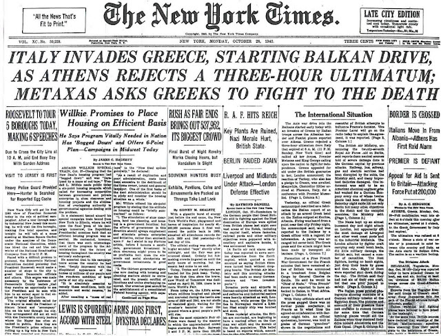 28 October 1940  worldwartwo.filminspector.com New York Times headlines