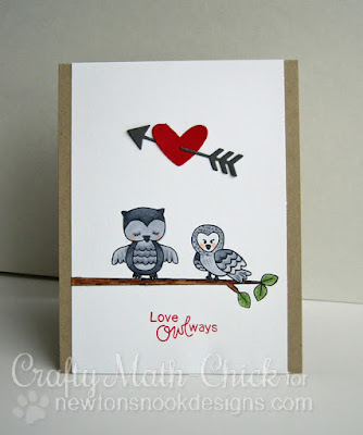 Owls in Love card by Crafty Math Chick | Magical Dreams & Sweetheart Tails stamp sets & Points & Plumes die set by Newton's Nook Designs