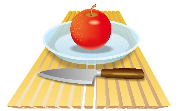 縦格子状板とガラス皿とリンゴと果物ナイフのイラスト
