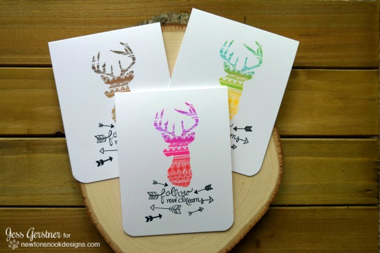 Trio of Neon Deer Cards by Jess Gerstner | Adventure Awaits Stamp set by Newton's Nook Designs #newtonsnook