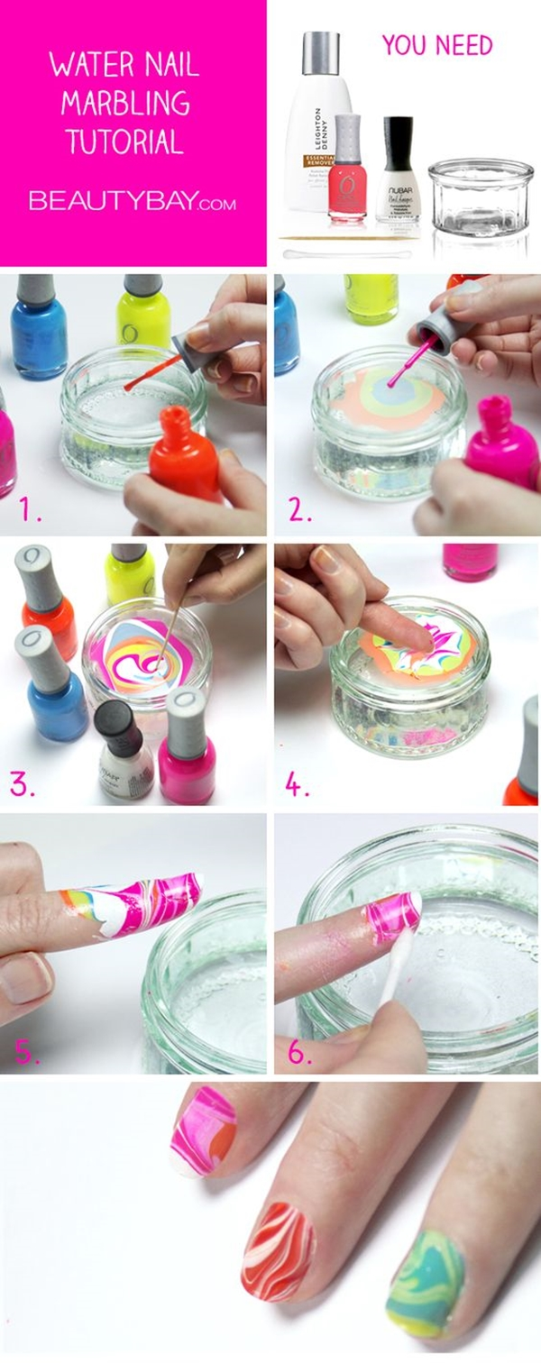 Como decorar as unhas com efeito marmorizado usando água