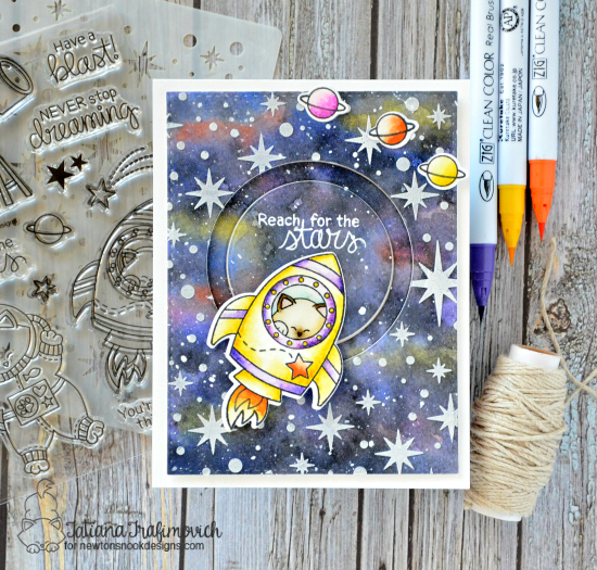 Cat in Space Rocket Card by Tatiana Trafimovich | Cosmic Newton Stamp Set and Starfield Stencil by Newton's Nook Designs #newtonsnook