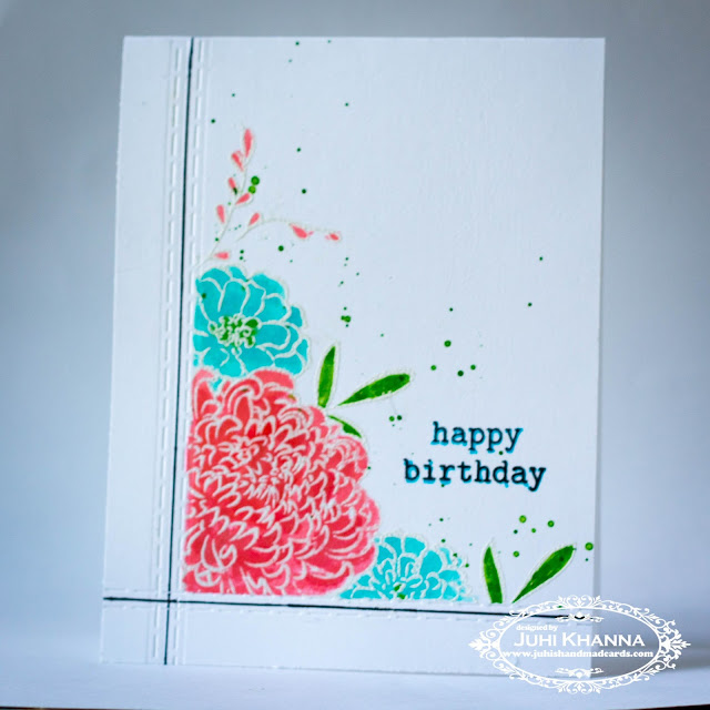 One layered card with In Bloom: Anna's Flora Winnie and Walter stamps
