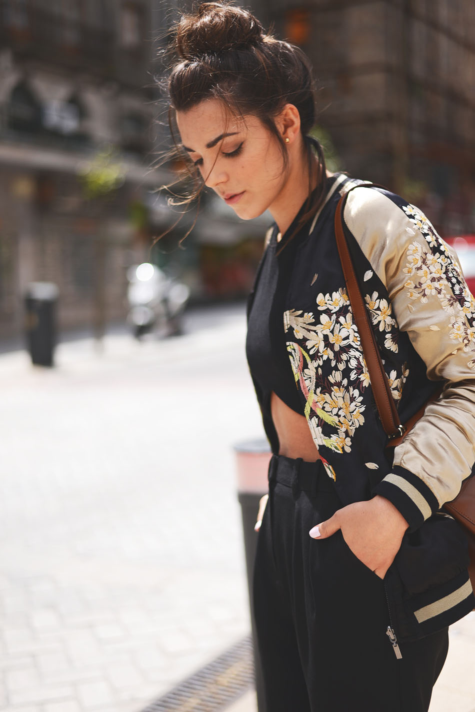 TheFashionThroughMyEyes - Satin Embroidered Bomber Jacket