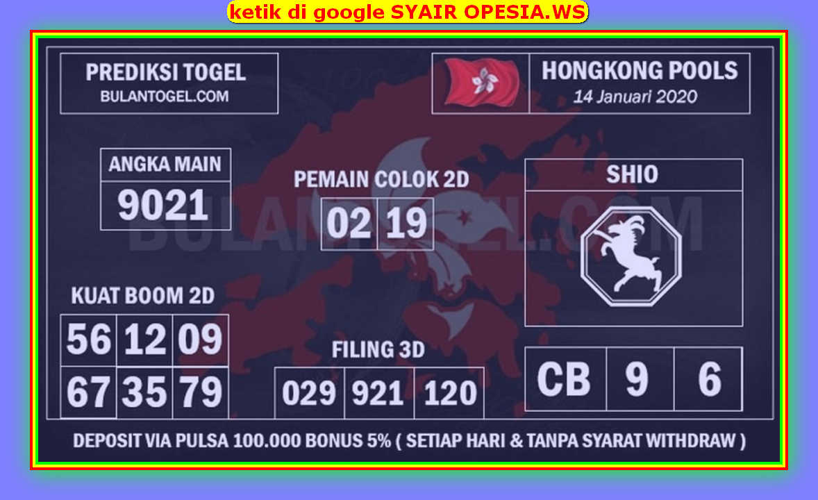 Kode syair Hongkong Selasa 14 Januari 2020 172