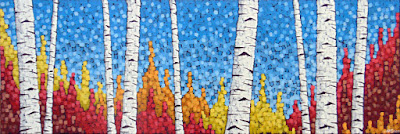 Cheers painting by artist aaron kloss, painting of birch in fall autumn, pointillism, square painting, duluth painter