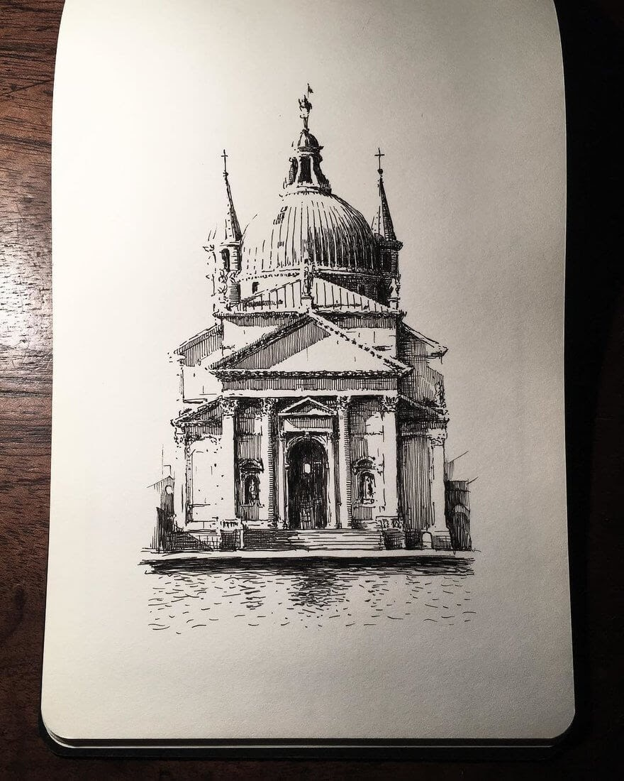 09-Santissimo-Redentore-Mark-Poulier-Urban-Sketches-Drawn-on-Site-www-designstack-co