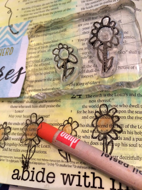 One way to decorate your Bible pages if you are not artistic is by using rubber stamps. I have come to love rubber stamps and they are so easy to use and come in a variety of sizes, shapes, and words!