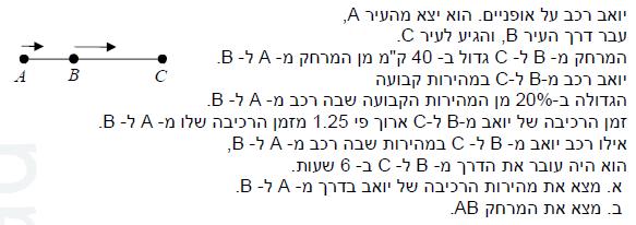 שאלה 1 - בגרות מתמטיקה 4 יחידות - בעיית מהירות