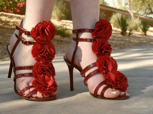 Kate Spade red floral heels