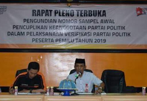 Ketua KPU Selayar Pimpin Pleno Terbuka, Verifikasi Parpol Peserta Pemilu 2019