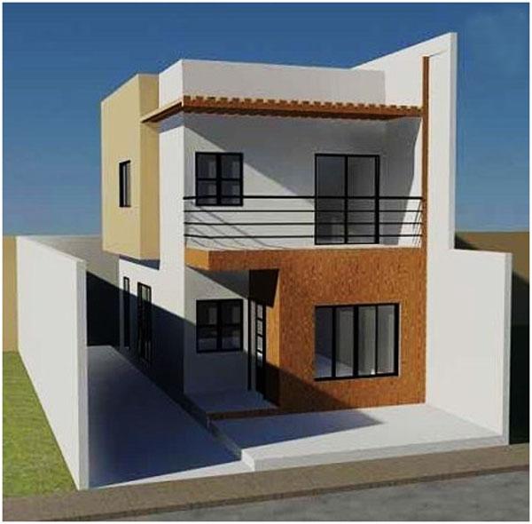 bentuk rumah minimalis 2 lantai sederhana lahan sempit