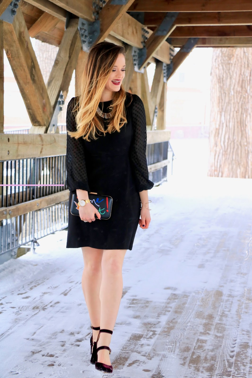 Nyc fashion blogger Kathleen Harper's winter black dress with velvet heels