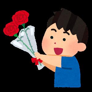 バラの花を送る男の子のイラスト(父の日・赤)