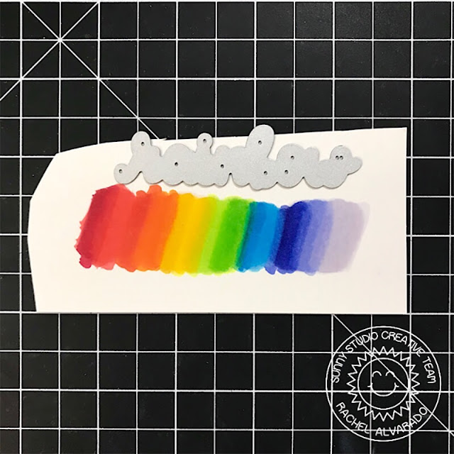 Sunny Studio Stamps: Over The Rainbow Rainbow Word Die Froggy Friends Rain Or Shine Rainbow Themed Cards by Rachel Alvarado