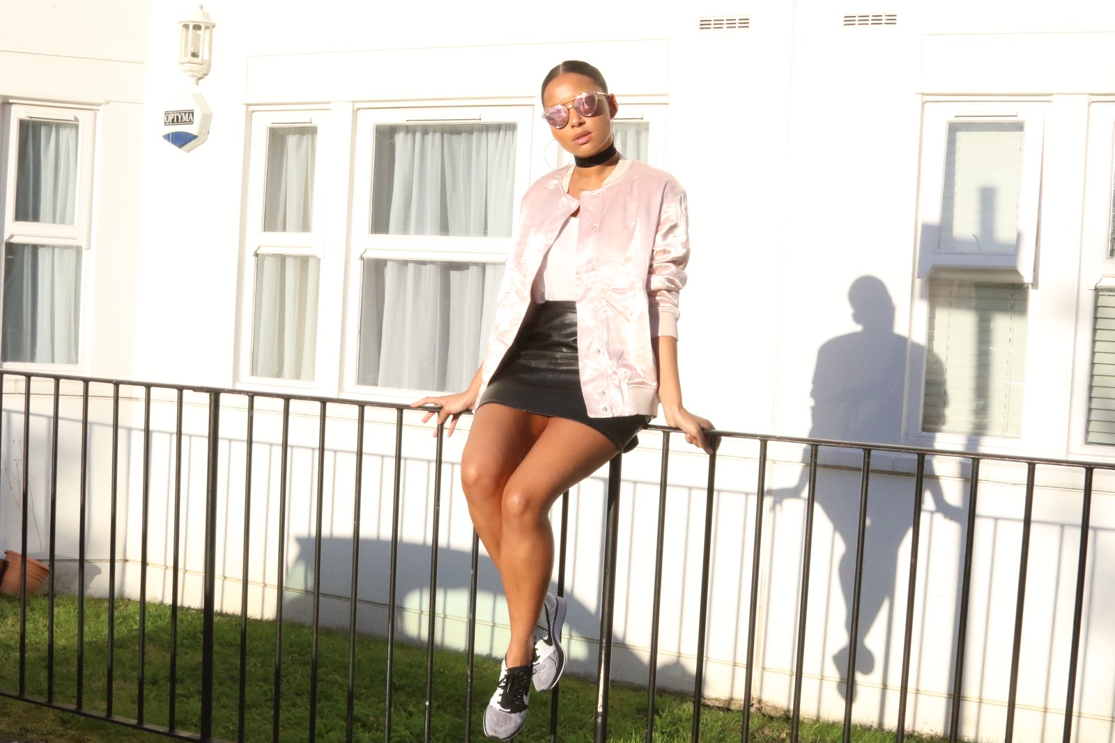 streetstyle, H&M, pink, pink bomber, nike, nikeflyknits, fashion, london, leather, fauxleather, ootd, style,
