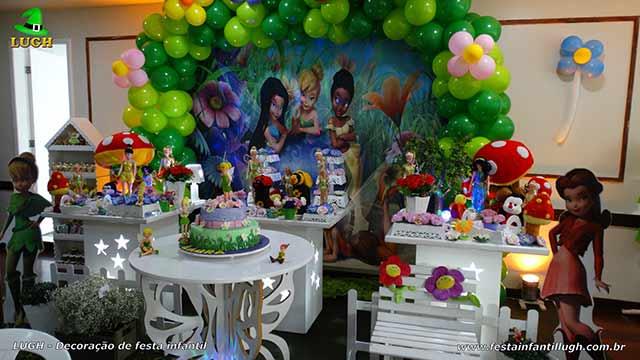Decoração provençal em mesa para aniversário infantil tema Tinker Bell - Sininho