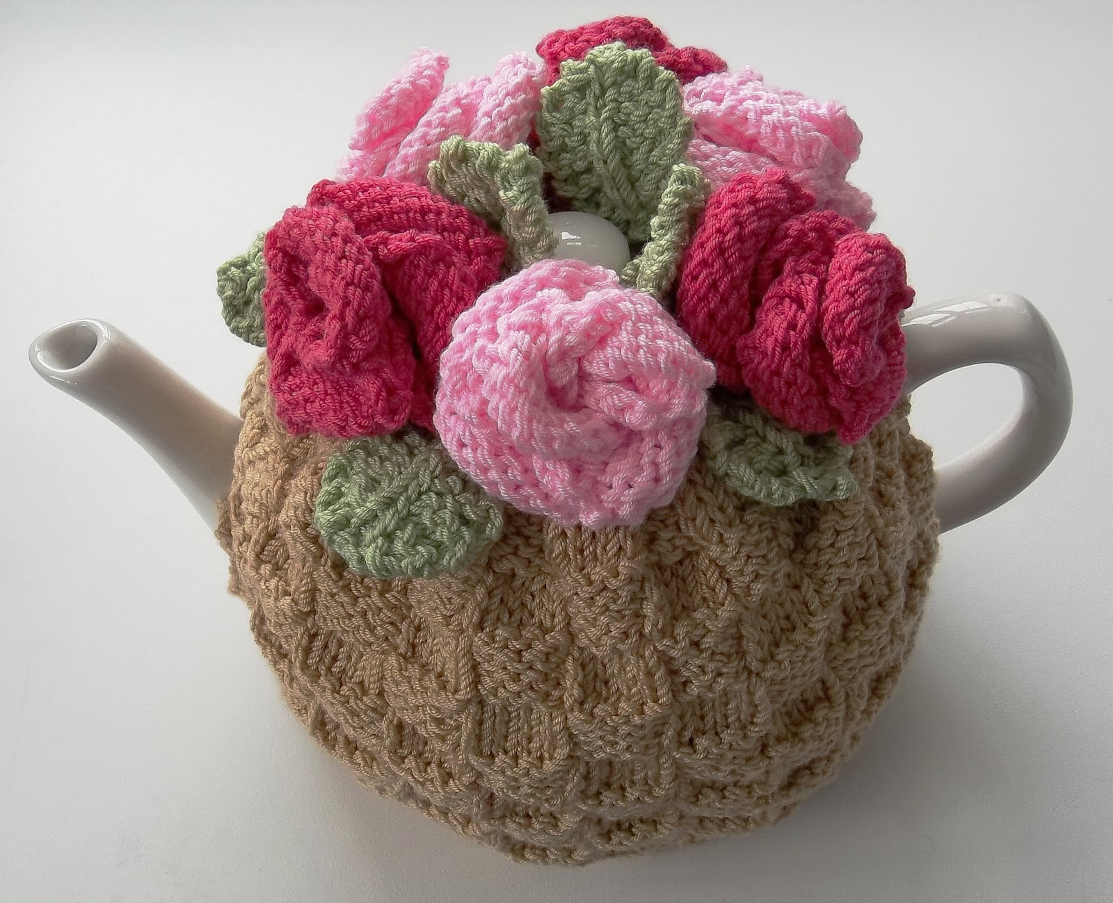 Knitted Teapot Cosy Patterns : The Tea Rose, Tea Cosy Hand Knitting Pattern