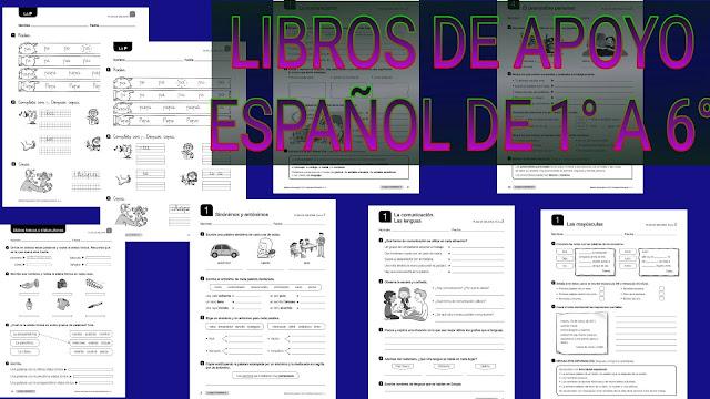 LIBROS DE APOYO -ESPAÑOL DE 1° A 6° DE PRIMARIA