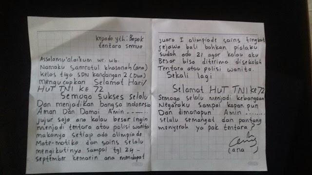 Surat Dari Seorang Pelajar SD Bikin Terharu