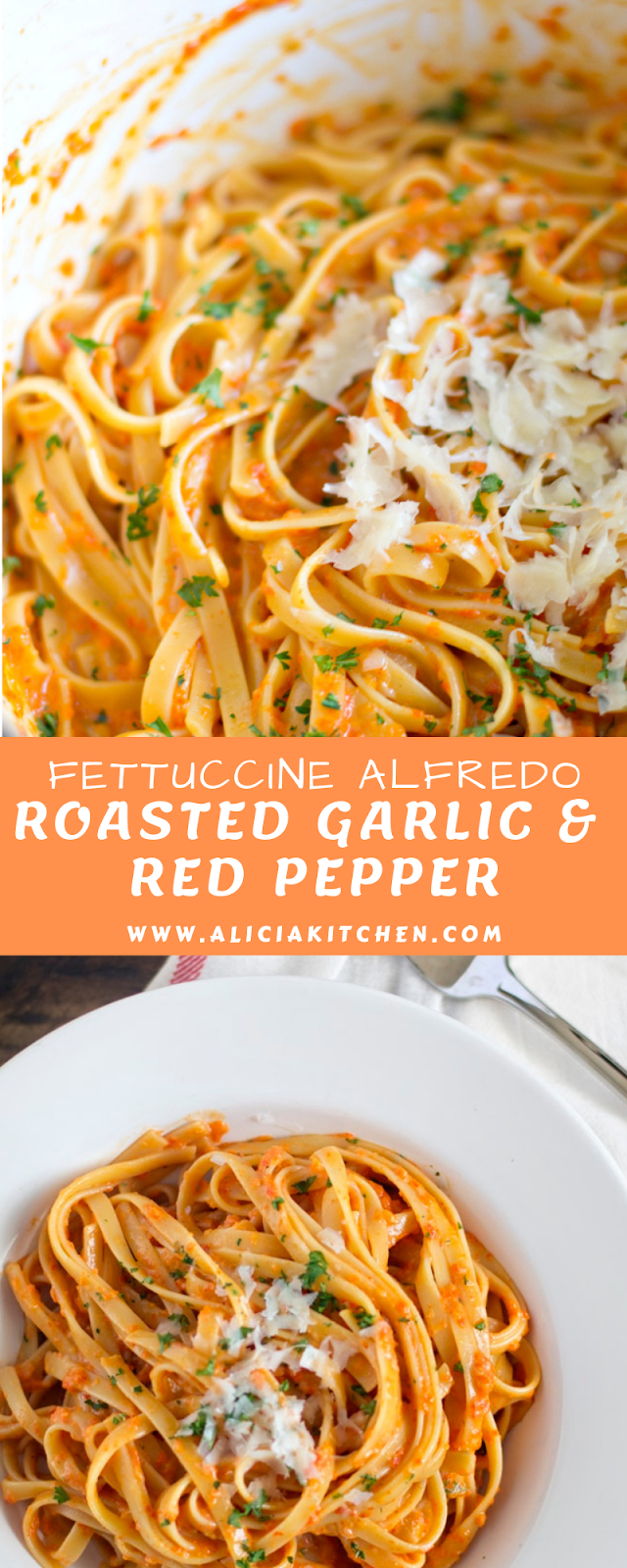 ROASTED GARLIC AND RED PEPPER FETTUCCINE ALFREDO