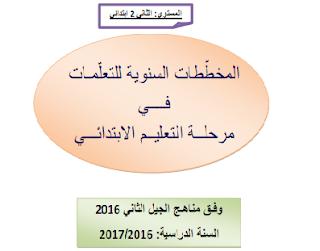 المخططات السنوية لـلسنة الثانية ابتدائي 2016-2017 لجميع المواد