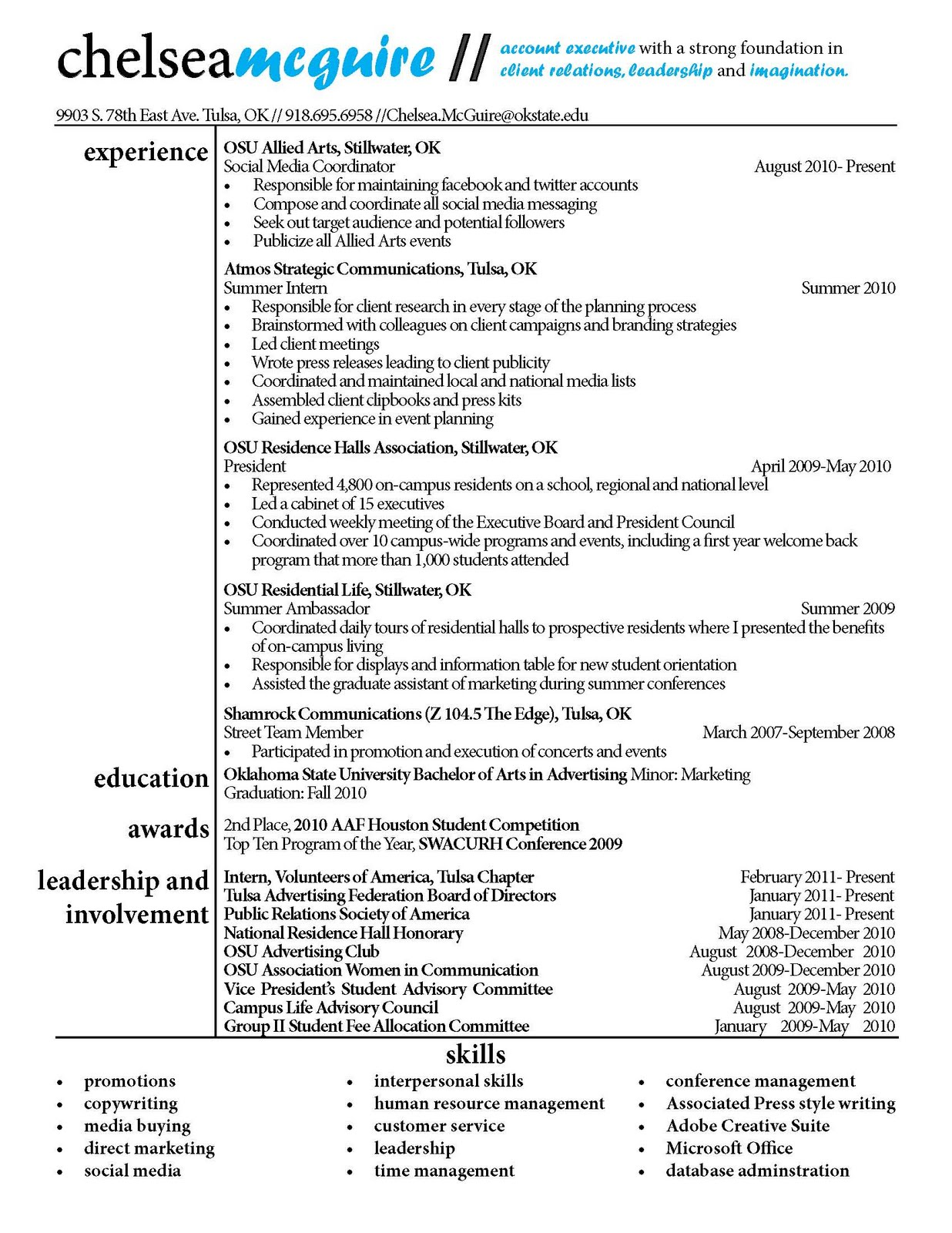 What To Write Under Communication On A Resume Chelsea Mcguire Strategic Communications Specialist Resume