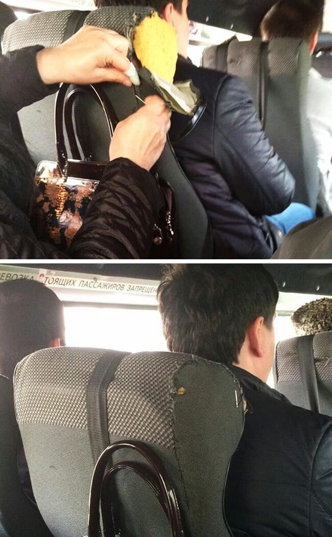 15 Powerful Pictures That Will Make Your Day - This woman stitched up a seat on a bus.