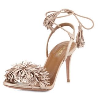 Aquazzura Wild Thing Suede Fringe Sandal in Rose Gold