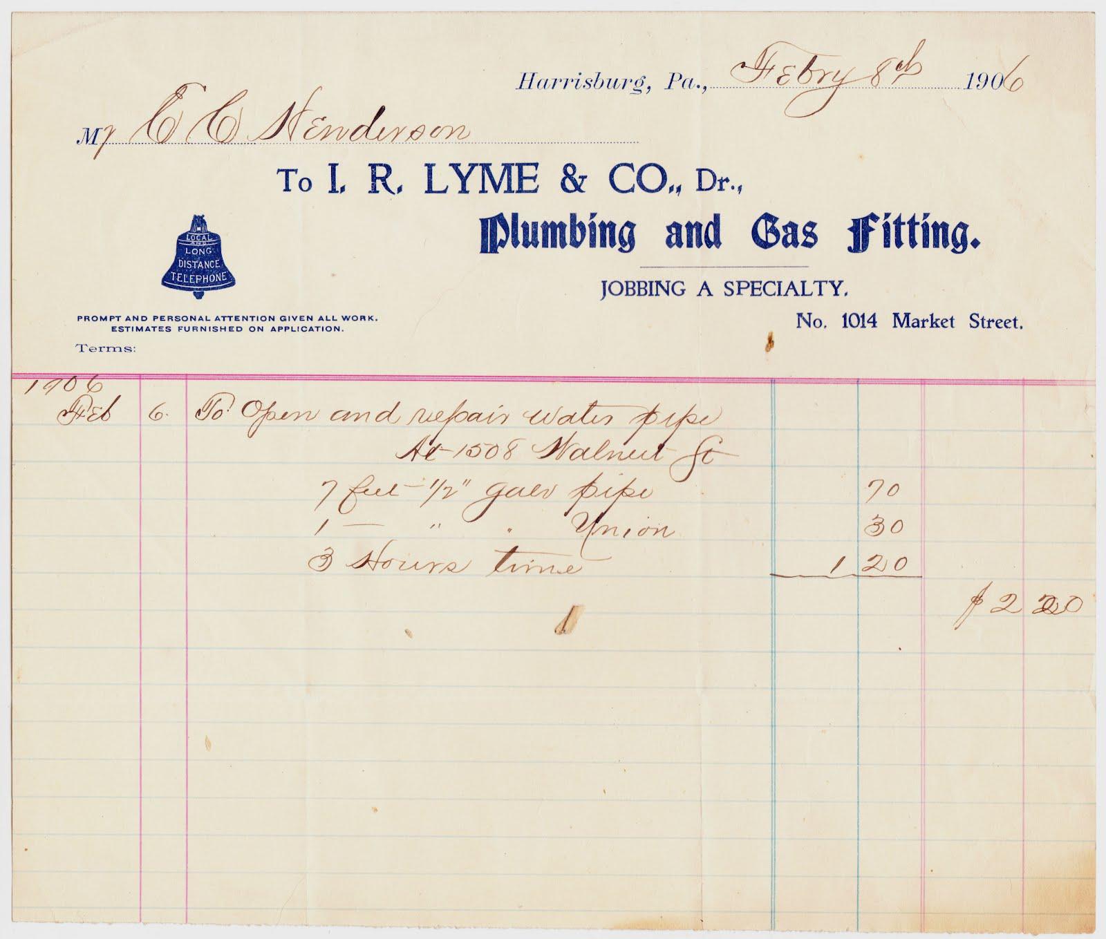 A Plumbing Repair That Cost Just $2.20 ... In 1906  Plumbing Receipt