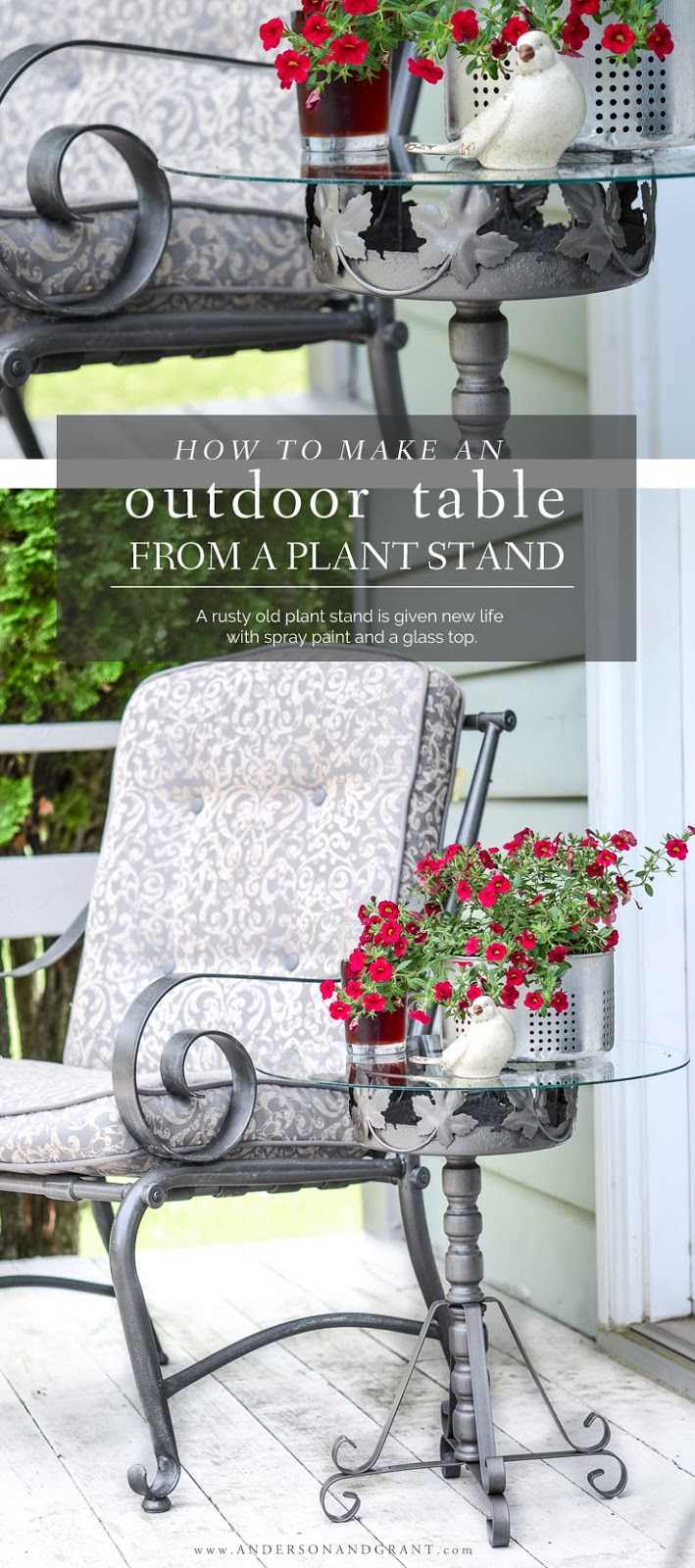 Outdoor side table made from a repurposed rusty plant stand.  #DIY #DIYdecor #outdoortable #DIYtable #repurposed