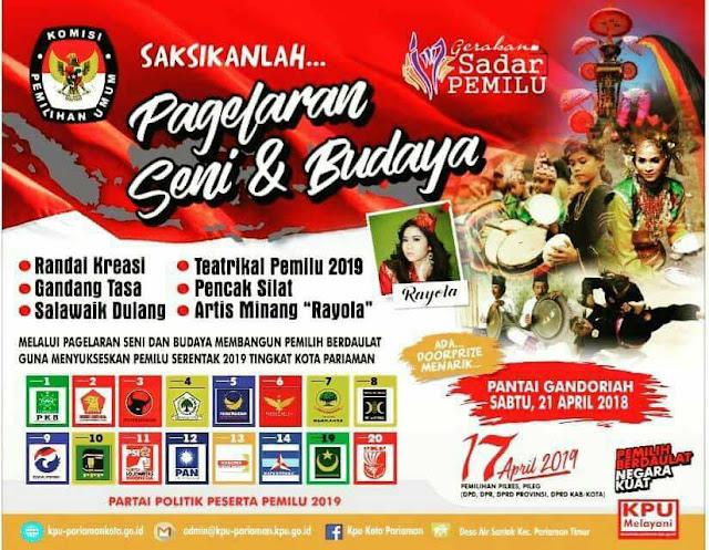 Sosialisasikan Pemilu, KPU Pariaman Gelar Pagelaran Seni Budaya Sabtu Besok