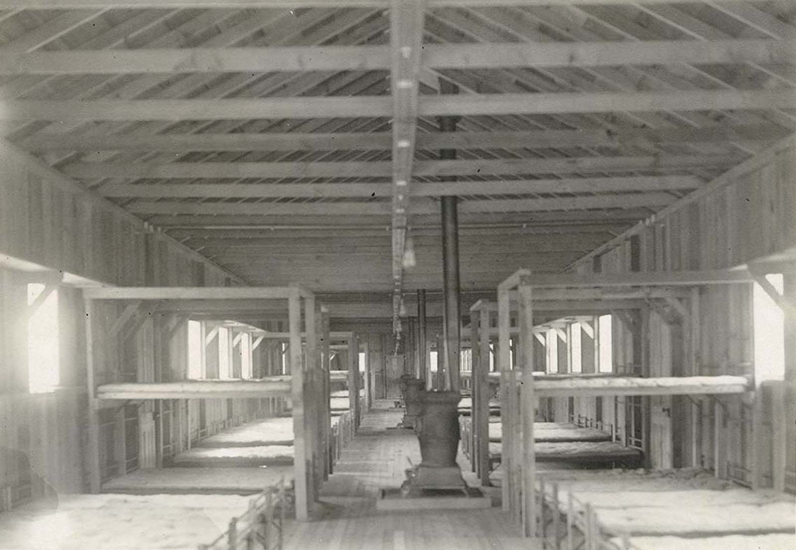 Inside the barracks of the internment camp.