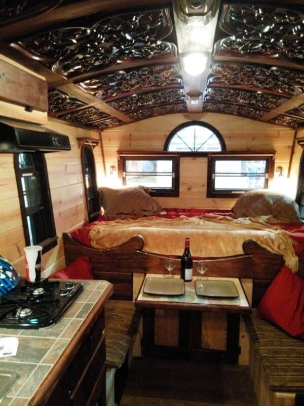02-Bedroom-Dining-and-Kitchen-Steve-Auth-Woolywagons-Tiny-House-The-Tudor-Cottage-Architecture