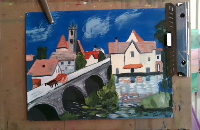 Acrylic sketch of European village from photos I took when I visited ; by Gloria Poole