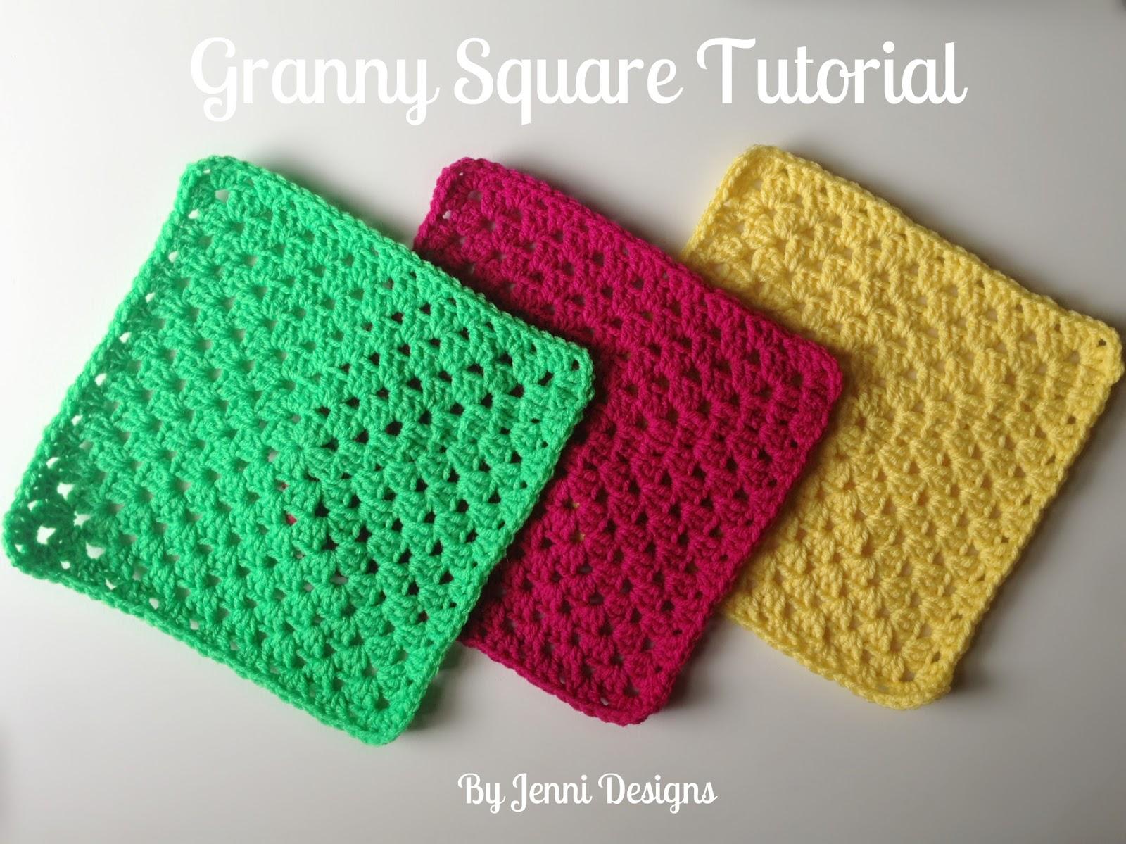 By Jenni Designs: Free Crochet Pattern Tutorial: Granny Square