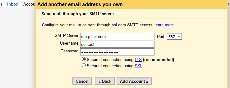AOL SMTP server settings within Gmail inbox