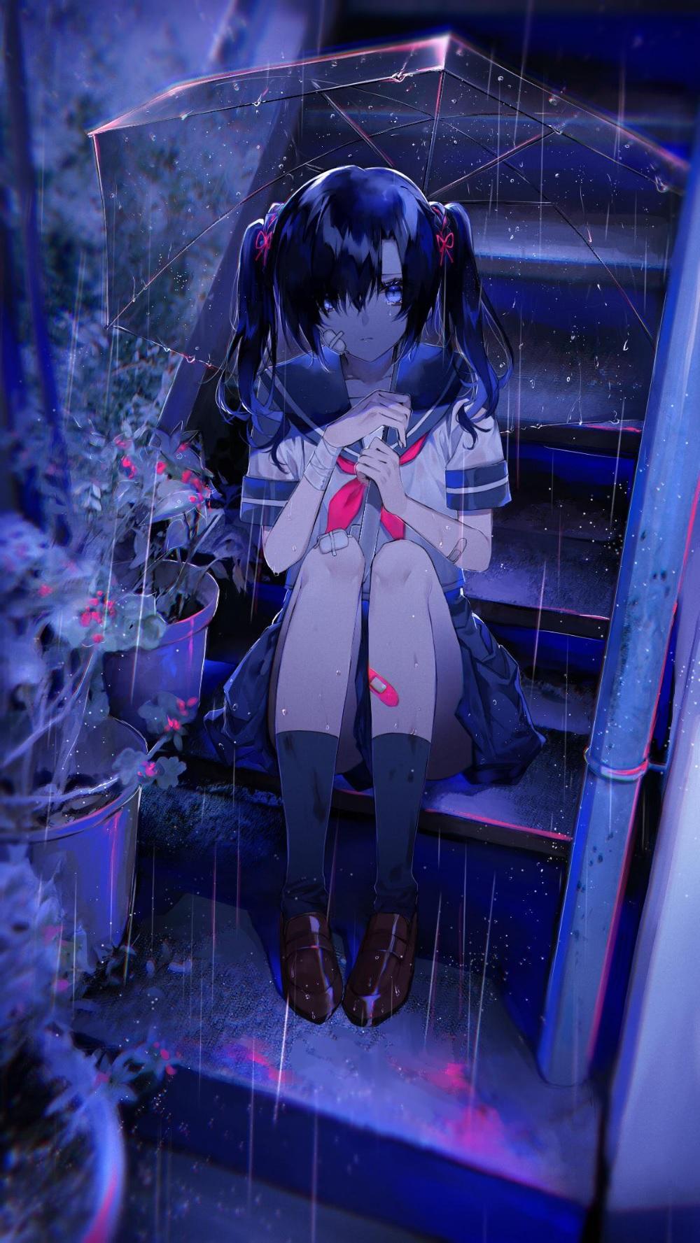 Foto anime sedih malam hari