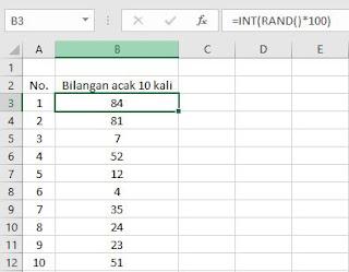 generate bilangan acak dengan excel (=rand())