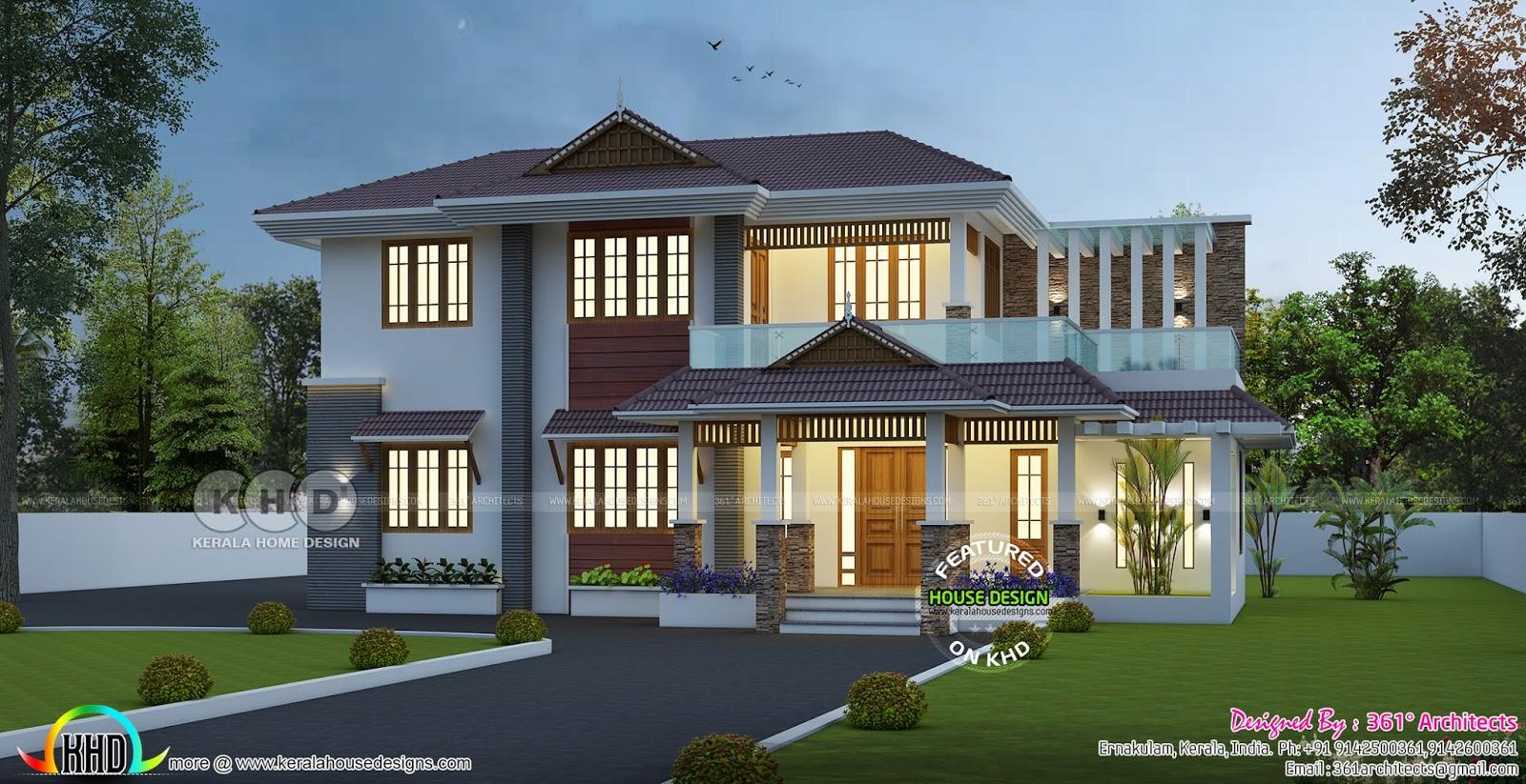 2541 Sq Ft Traditional Mix Home Kerala Home Design