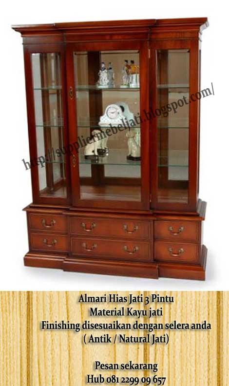 Jual Mebel Furniture Jepara Display Cabinet Jati 3 Pintu