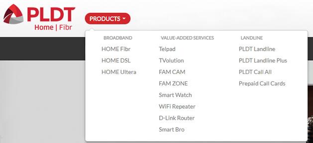 List of PLDT Products Broadband/Value-added Services/Landline 2017