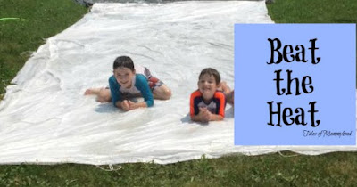 beat the heat, waterslide fun, diy slip and slide, mama in her bathing suit