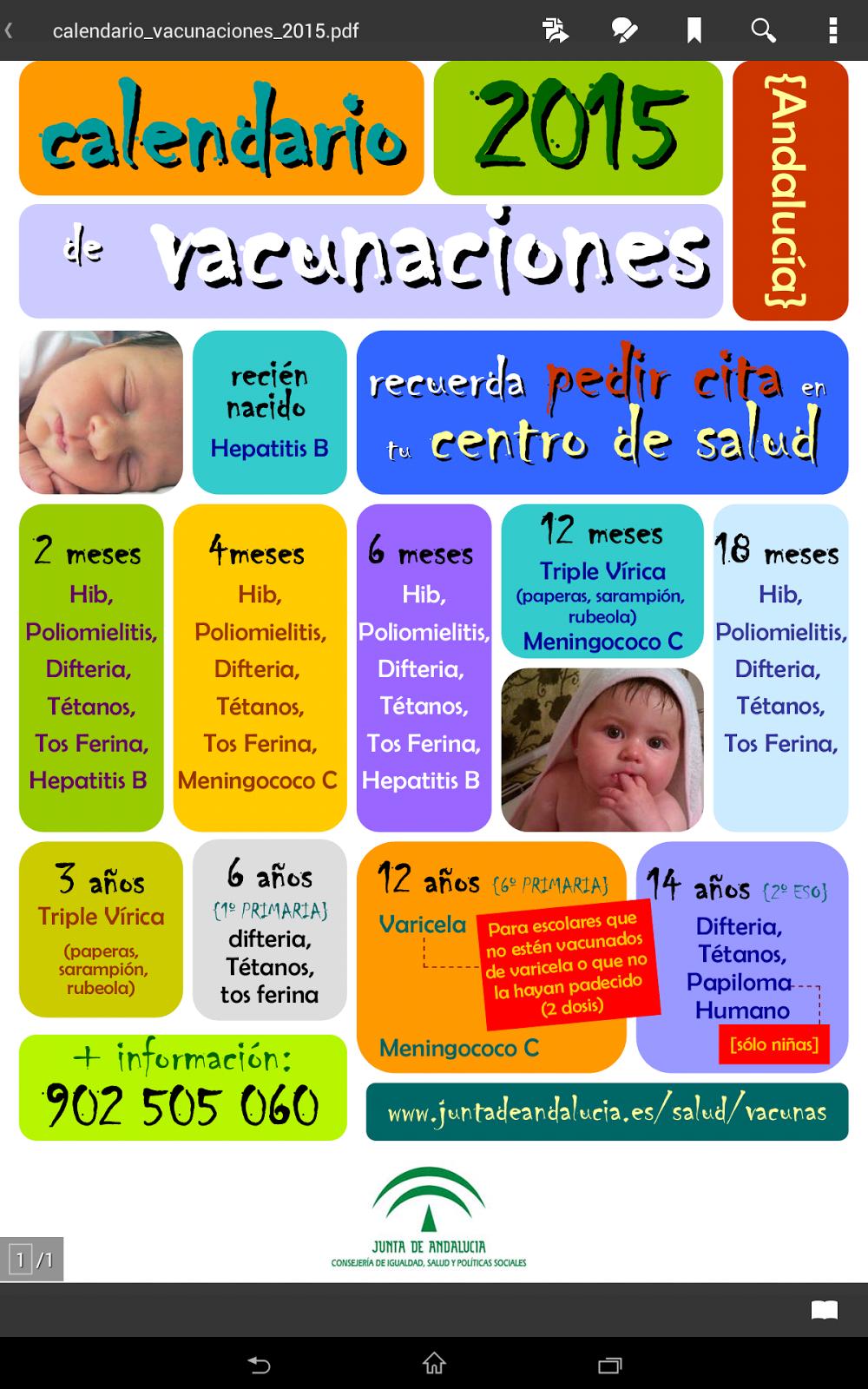 Calendario Vacunas 2020 Andalucia.Xaudar Salud Calendario Vacunacion 2015 Andalucia