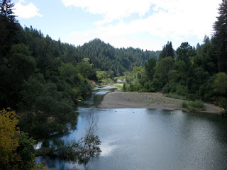 View of the Russian River from a bridge near Hacienda, Sonoma County, California